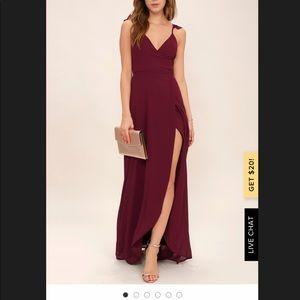 Lulus Here's to us maroon wrap dress